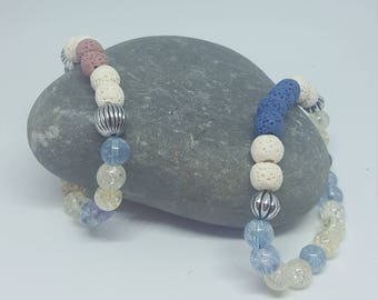 Elasticated Bracelet made with Crackled Quartz and lava beads, Diffuser Bracelet, Ready to Post