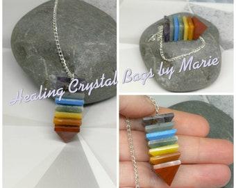 Chakra Pyramid Gemstone Pendulum