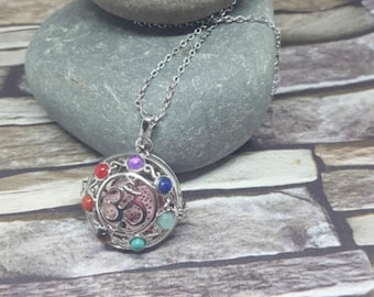 Chakra Essential Oil Diffuser Necklace Locket Pendant Ohm Symbol and Lava Stone