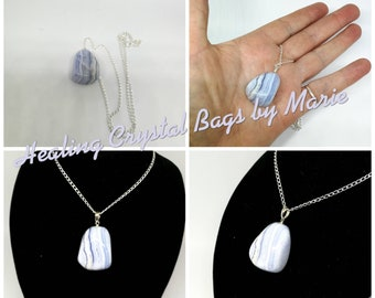 Blue Lace Agate Pendant with Silver Chain