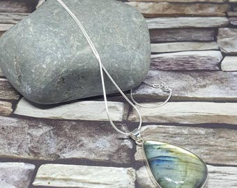 Labradorite silver pendant Large statement pendant Crystal Healing, Gift for Valentines Day