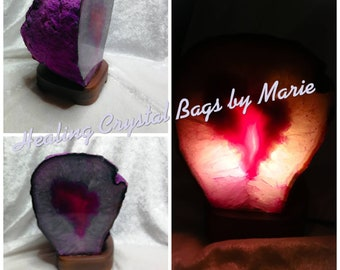 Agate Lamp, 3-4kg, Pink Agate Geode Lamp Comes with Light Fitting and Bulb