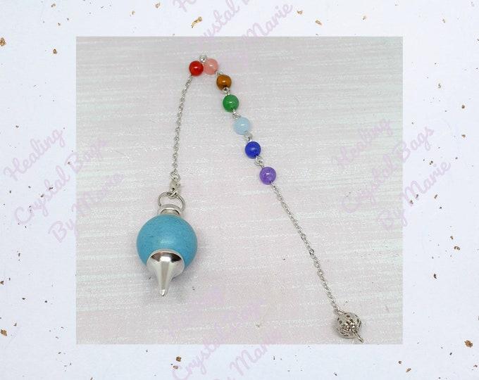 Blue Howlite  Ball Gemstone Pendulum