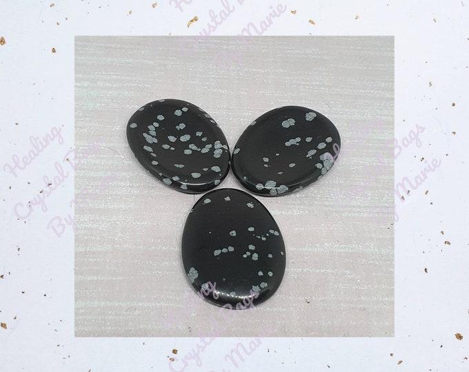 Snowflake Obsidian Worry Stone, Thumb Stone
