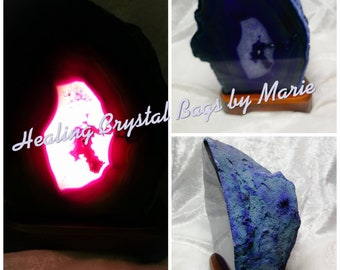 Agate Lamp, 3-4kg, Purple Agate Geode Lamp Comes with Light Fitting and Bulb