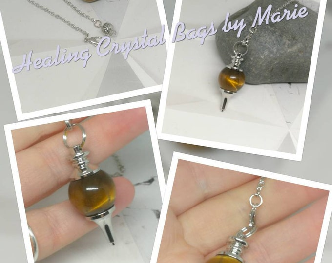 Tigers Eye Ball Gemstone Pendulum,