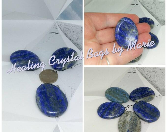 Lapis Lazuli Polished Worry Stone, Thumb Stone.