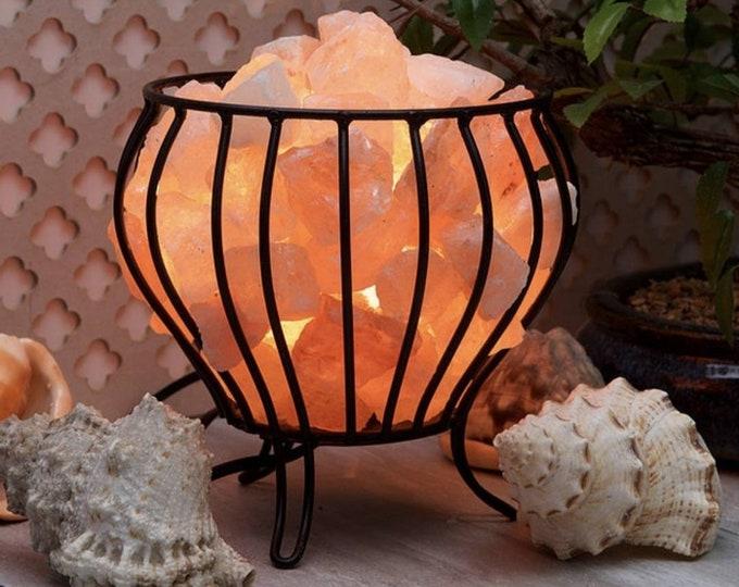 Iron Basket Lamp with Himalayan Salt Rocks