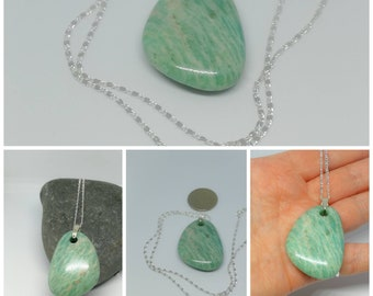 Amazonite  Pendant on Silver chain, Chakra Crystal, Reiki, Crystal Healing