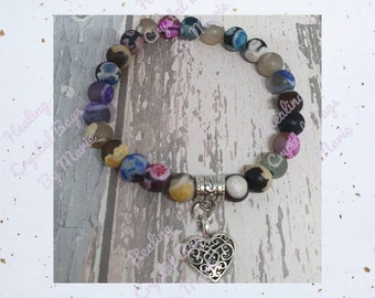 Frosted Agate Bracelet with Heart Charm