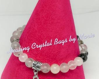 Tourmalated Quartz Stretch Bracelet with Lotus Charm, yoga Bracelet, Stacking Bracelet