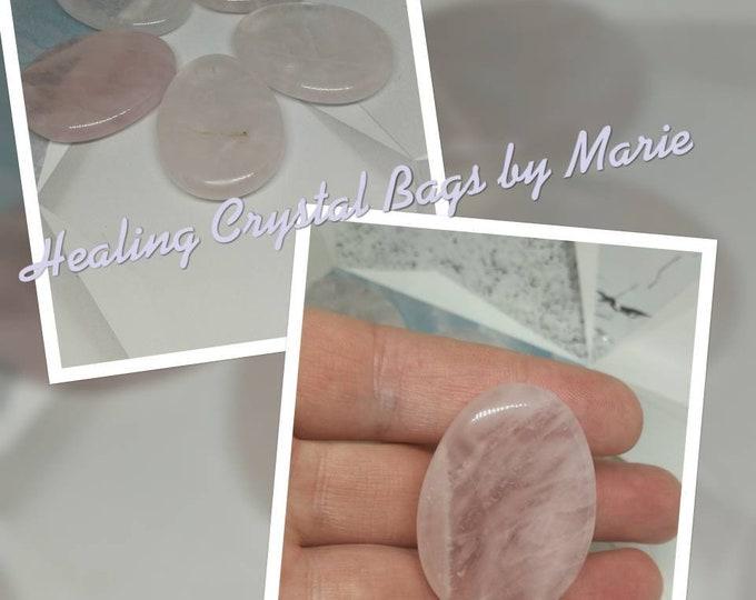 Rose Quartz Polished Worry Stone, Thumb Stone.