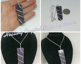 Lepidolite Healing Wand  Wire Wrapped Pendant on 18 inch  Silver plated Chain , Reiki, Crystal Healing