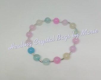 Pastel Agate Stretchy Bracelet, Crystal Healing