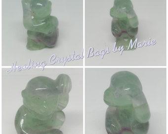 Fluorite Monkey, Carved Gemstone