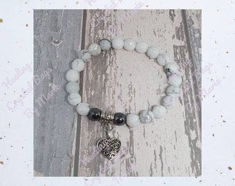 Howlite and Hematite Bracelet with Heart Charm