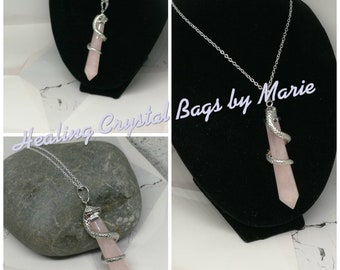 Rose Quartz Snake Pendant