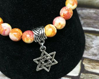 Jade Bracelet With Star of David Charm, Valentines day, Mothers Day Gift, Crystal Healing, Chakra Healing. One of a kind.