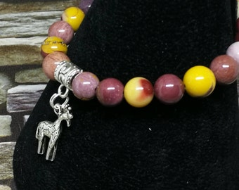 Mookaite Bracelet Giraffe Charm, Stretchy Bracelet, Crystal Healing