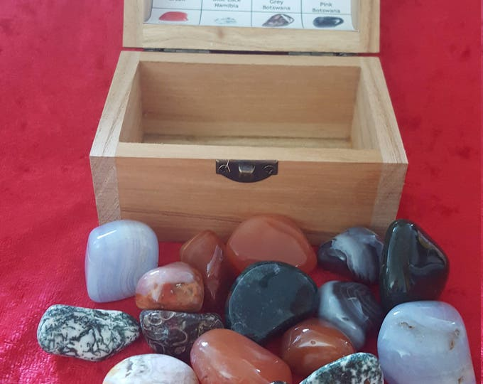 Crystal  Tumble Treasure  Chest Box  Gemstone Chakra Healing ReikiI New Age