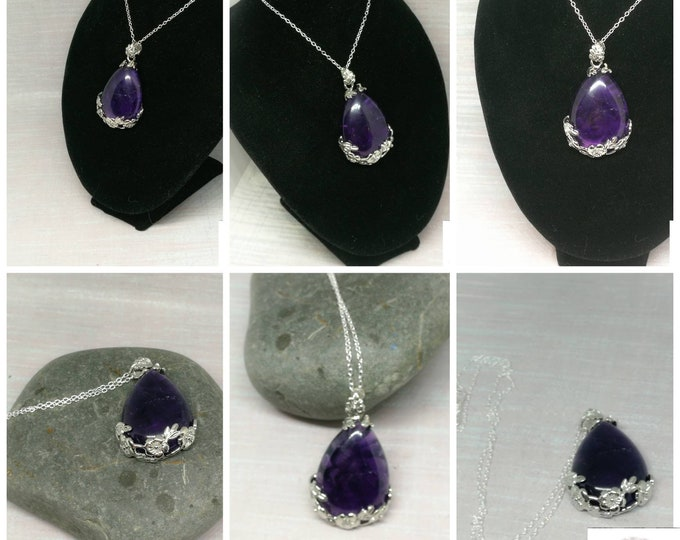 Amethyst Pendant on Silver Chain.