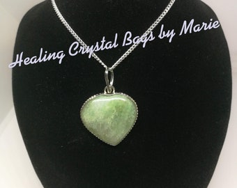 Aquamarine Heart Pendant on 16 inch Sterling Silver Chain  , Reiki, Crystal Healing