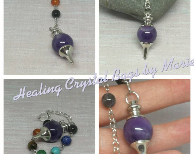 Amethyst Ball Gemstone Pendulum,