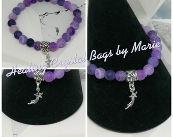 Purple Agate Bracelet with Charm.