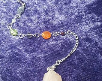 Crystal Gemstone Pendulum with chakra bracelet, healing dowsing