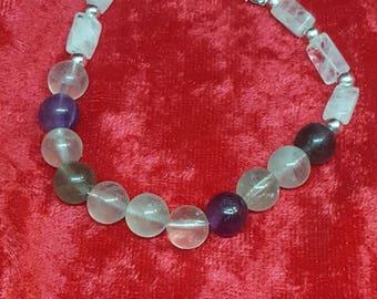 Natural Gemstone Bracelet Fluorite and Moonstone, Crystal Healing, Chakra Healing