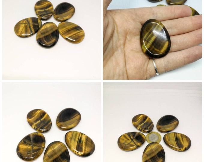 Tigers eye Polished Worry Stone, Thumb Stone.  Chakra Meditation Reiki Crystal Gemstone