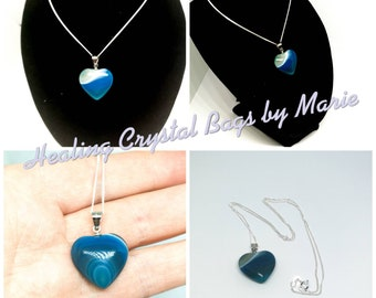 Agate  Heart Pendant on 16 inch  Sterling Silver Chain, Blue Agate