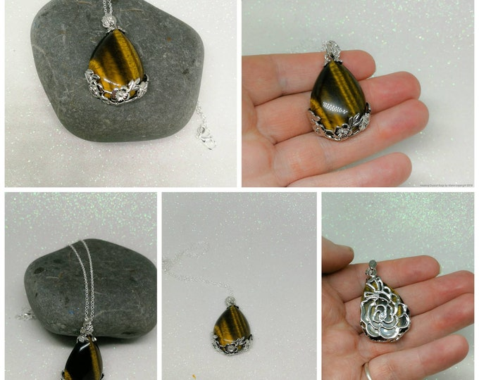 Tiger Eye Pendant on Silver Chain.
