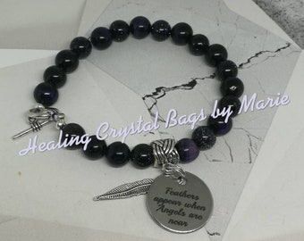 Memorial bracelet with Feather charm.