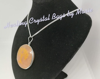 Orange Aventurine Pendant with Tree Engraved on 20 inch Sterling Silver Chain  , Reiki, Crystal Healing