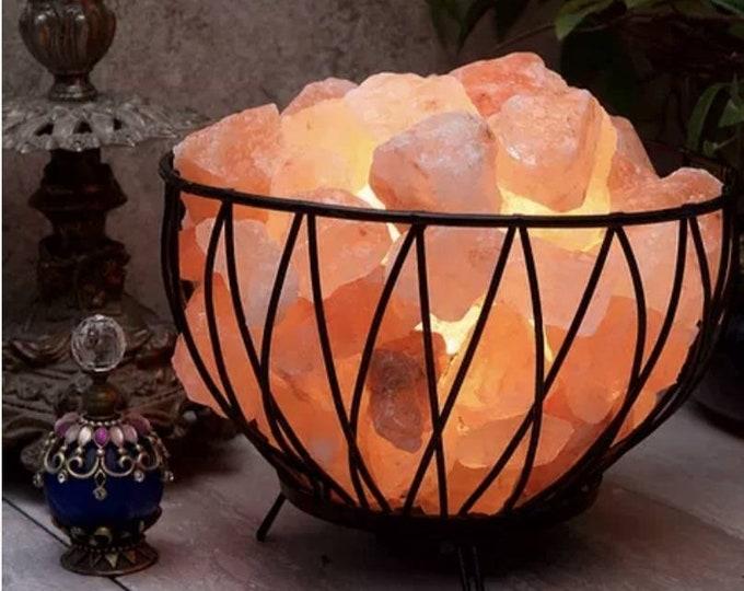 Criss Cross Basket Lamp with Himalayan Salt Rocks