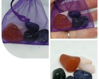 Crystal Healing Bag for Trust Tumblestones, Chakra Healing