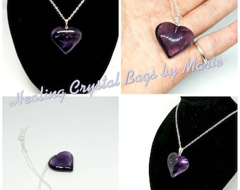 Amethyst Heart Pendant on 18 inch Sterling Silver Chain.