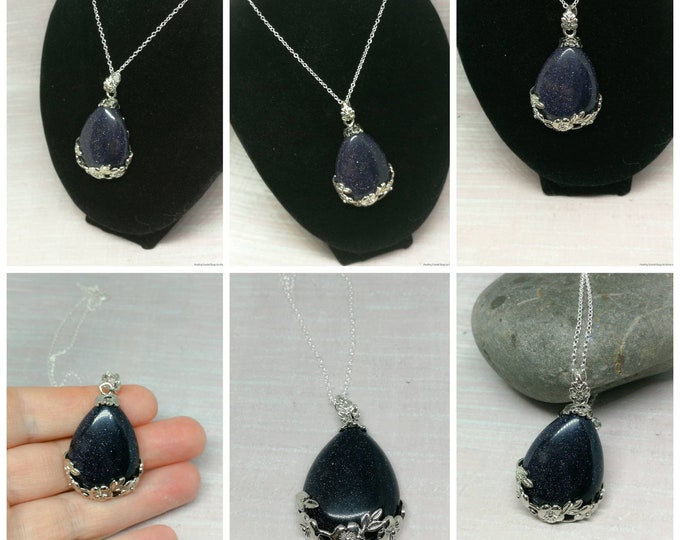 Blue Goldstone Pendant on Silver Chain.