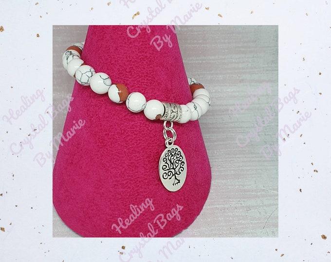 White and Red Matrix Turquoise Bracelet