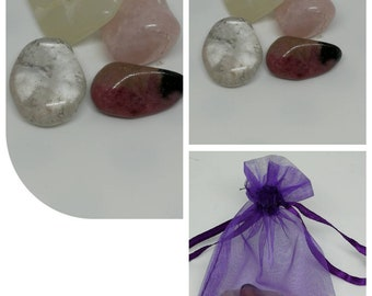 Crystal Healing Bag for Emotional Balance Tumblestones, Chakra Healing