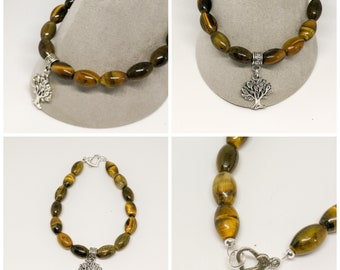 Tigers Eye Bracelet With Tree  Charm, 7.5 inch with Heart Clasp , Crystal Healing