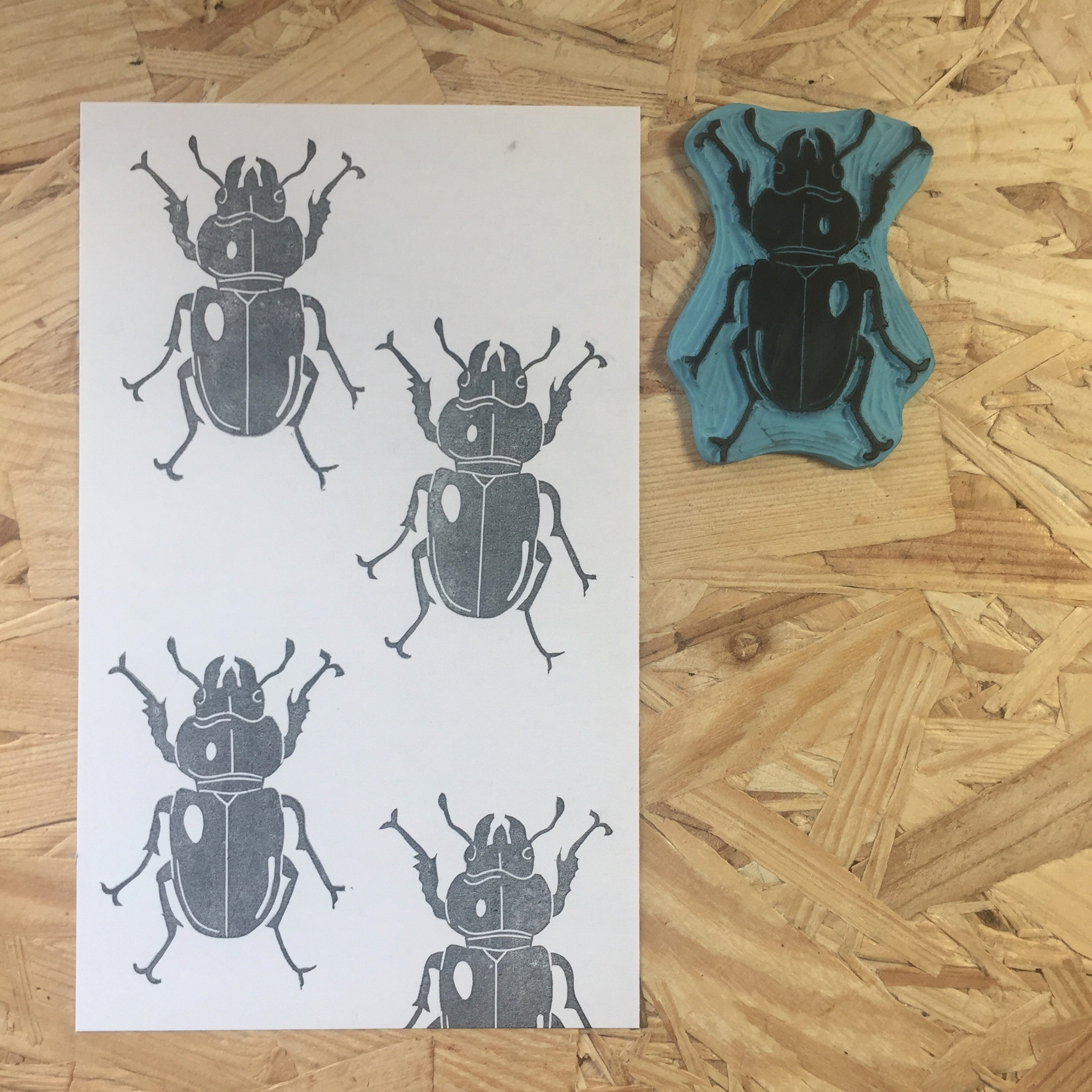 Rubber stamp, hand carved stamp, mounted wedding or unmounted, wedding mounted design, animal design, beetle, insect 94b198