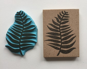 Rubber stamp | hand carved stamp | mounted or unmounted | stamping | leaf | nature | fern stamp
