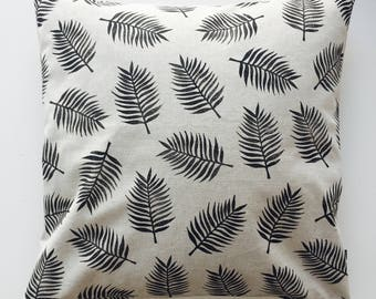 Tropical leaves cushion cover, hand printed, rubber stamp, hand stamped cushion cover, unique pillow, NL seller, Trend 2018