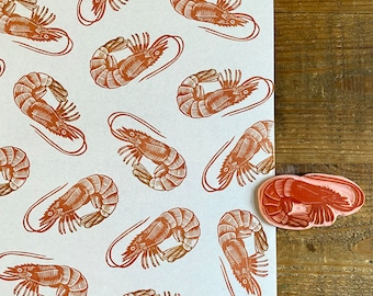 Rubber stamp shrimp   hand carved stamp   mounted or unmounted   stamping   fish   sea food    prawn stamp