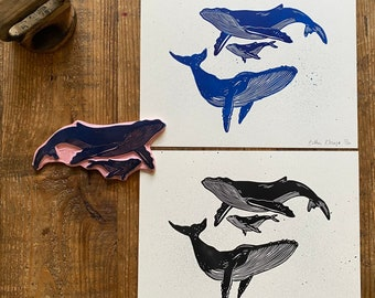 lino print    original printing   whale   cute illustration   fun print   print made with rubber stamps   limited edition
