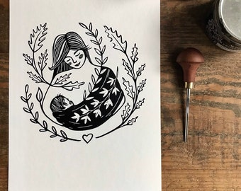 lino print    original printing   love   cute illustration   baby   limited edition   birth welcome illustration   Mother's Day