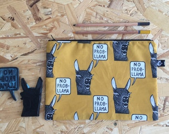zipper pouch | pencil case | make-up bag | cosmetics bag | digitized hand stamped print | project bag | rubber stamp | llama | animal design