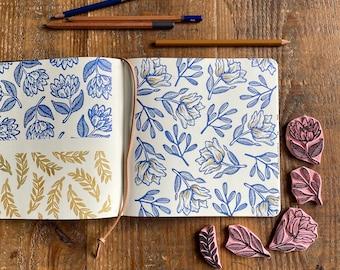 Set of 5 hand carved stamps   hand carved stamp   mounted or unmounted   flower   spring flower   floral design   spring   Scandinavian